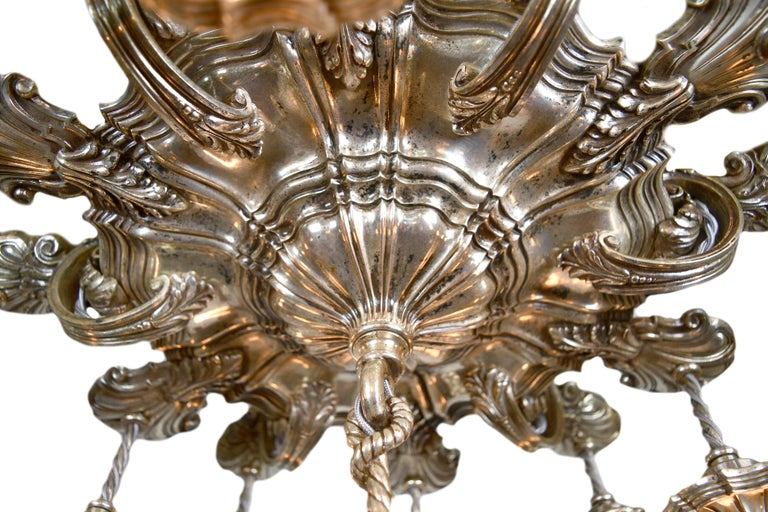 Caldwell 13 Light Silver Plated Chandelier In Good Condition For Sale In Minneapolis, MN
