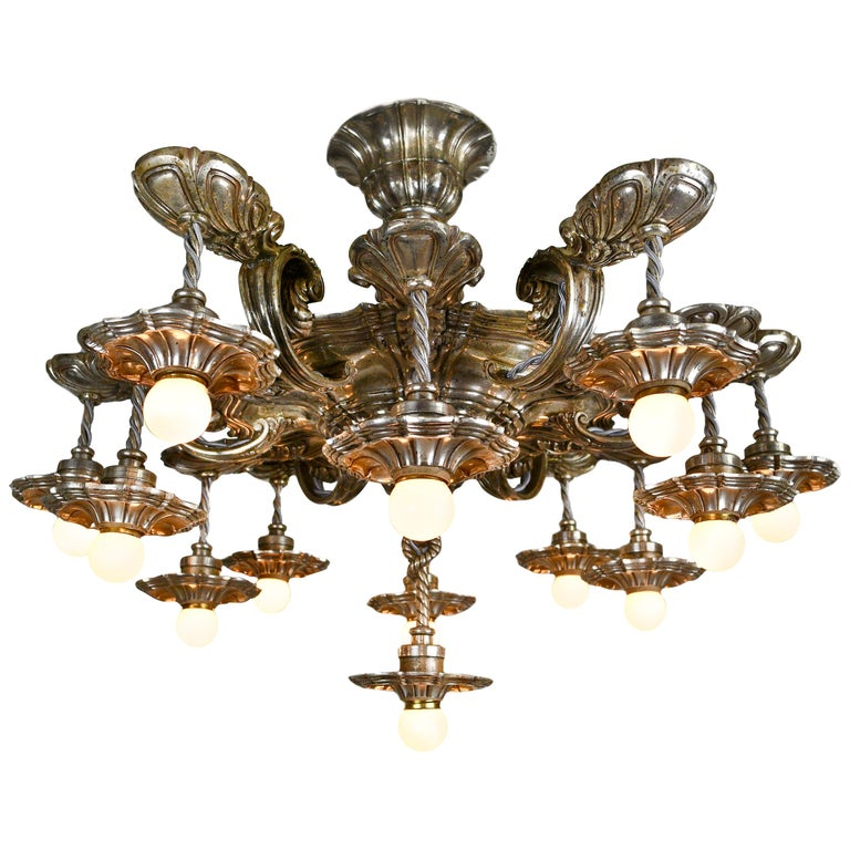Caldwell 13 Light Silver Plated Chandelier For Sale