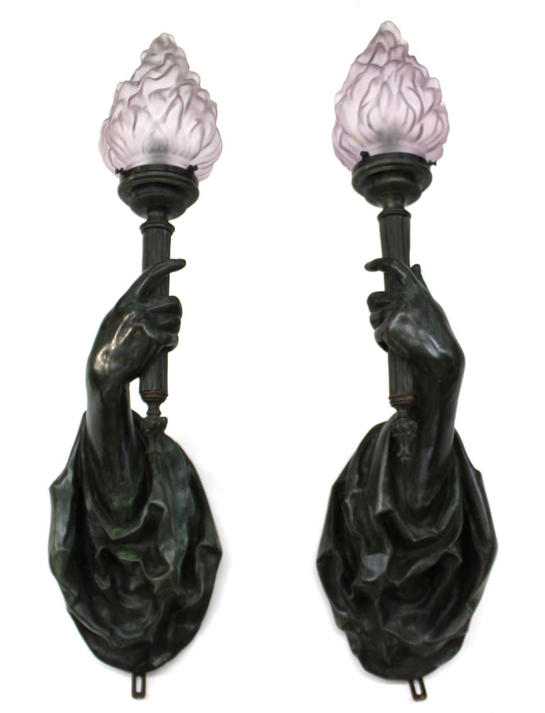Caldwell Attributed Gilded Age Bronze Hand Torchiere Wall Sconces For Sale 4