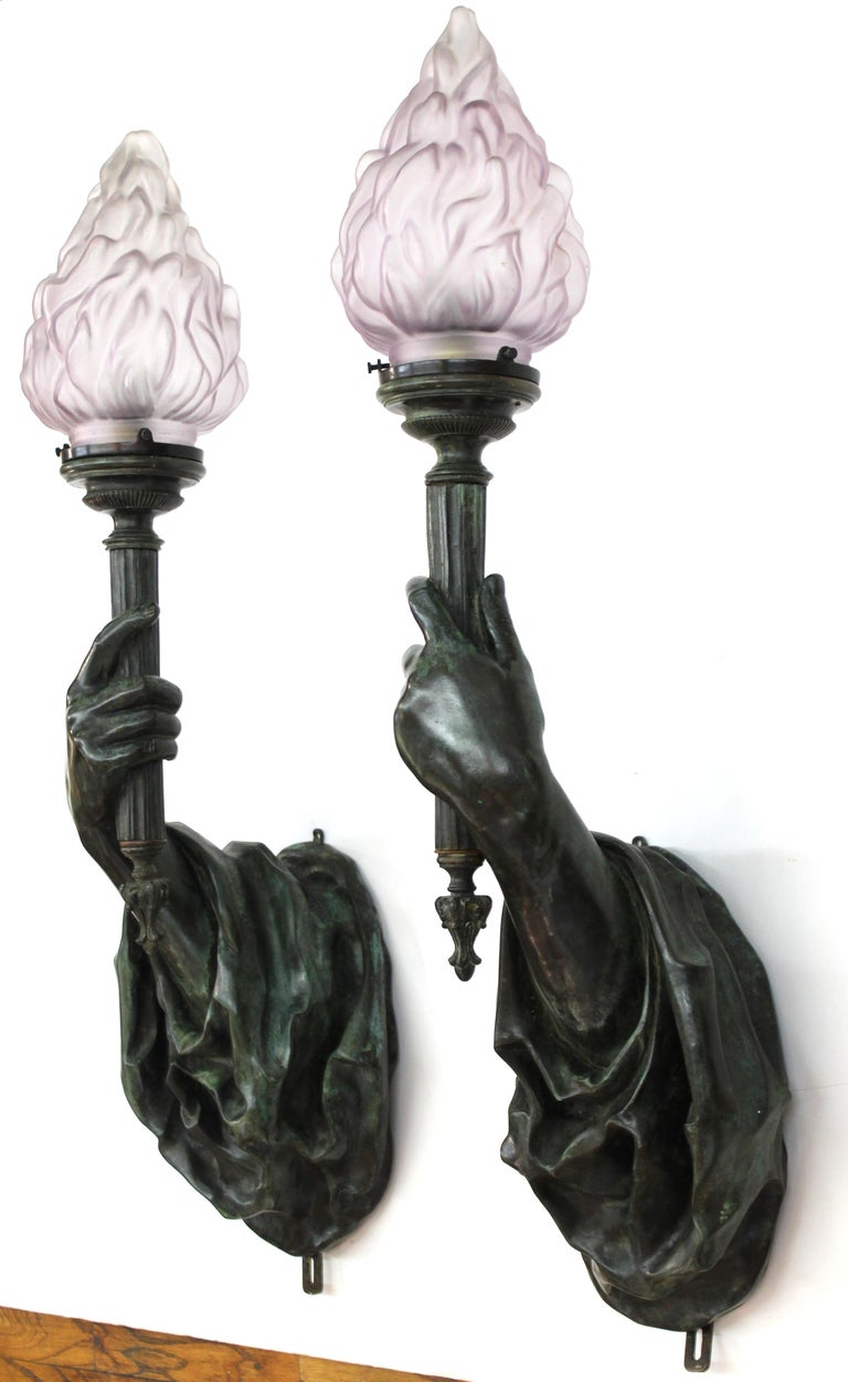 Belle Époque Caldwell Attributed Gilded Age Bronze Hand Torchiere Wall Sconces For Sale