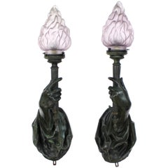 Caldwell Attributed Gilded Age Bronze Hand Torchiere Wall Sconces