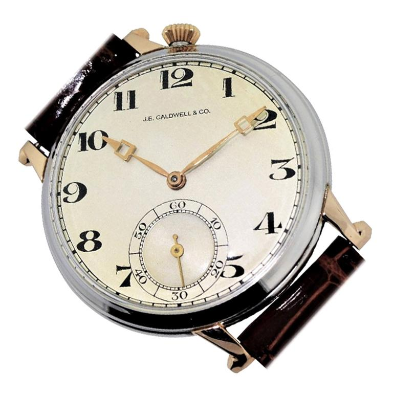 Caldwell by Ditisheim Platinum Yellow Gold Enamel Pocket Watch For Sale