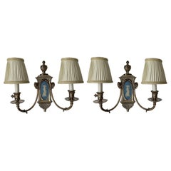Caldwell Wedgwood Jasperware and Silver Plated Bronze Sconces