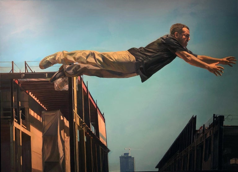 Chasing the Edge - Large Scale Oil Painting of Man Leaping Between Buildings For Sale 3