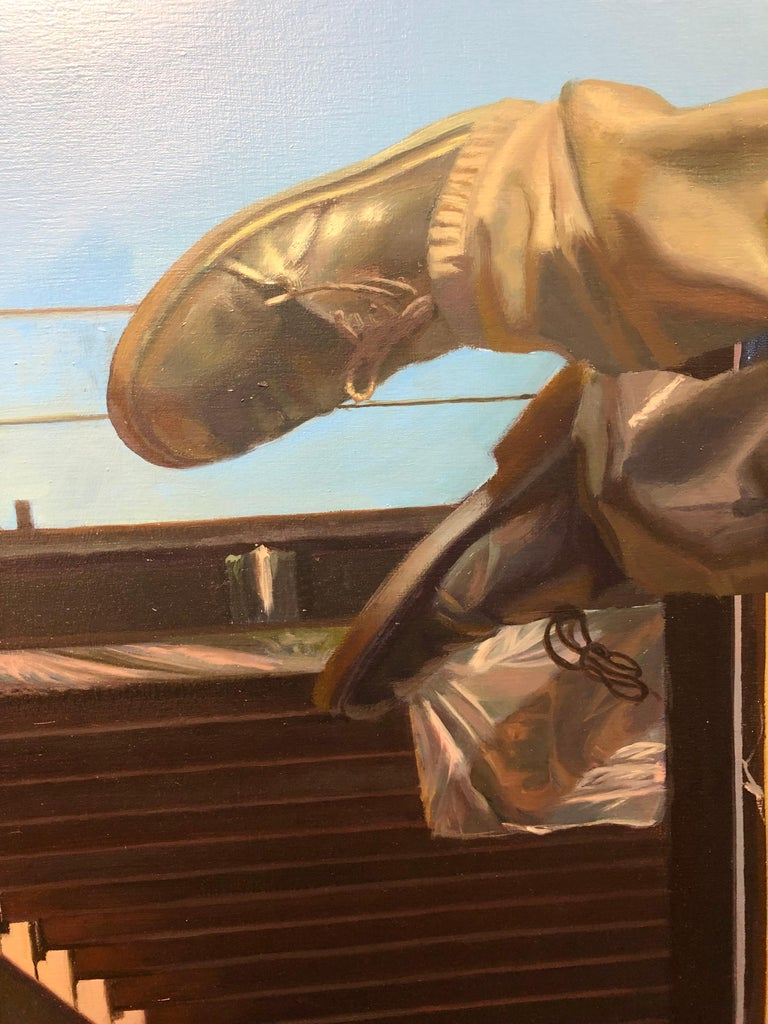 Chasing the Edge - Large Scale Oil Painting of Man Leaping Between Buildings For Sale 2