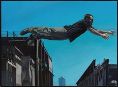 Chasing the Edge - Large Scale Oil Painting of Man Leaping Between Buildings