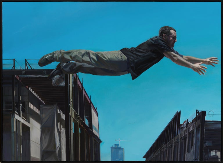 Caleb O'Connor Landscape Painting - Chasing the Edge - Large Scale Oil Painting of Man Leaping Between Buildings
