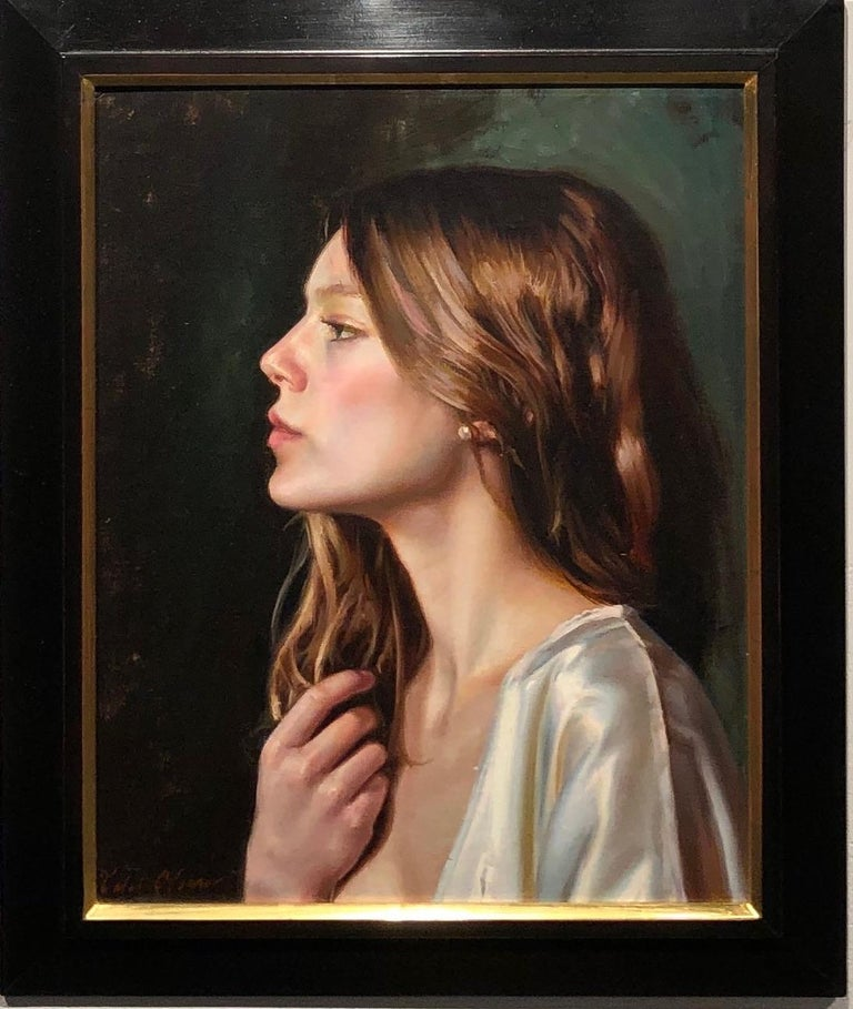 Untitled Portrait of a Female with Long Auburn Hair and a Silk Robe Oil on Panel - Painting by Caleb O'Connor