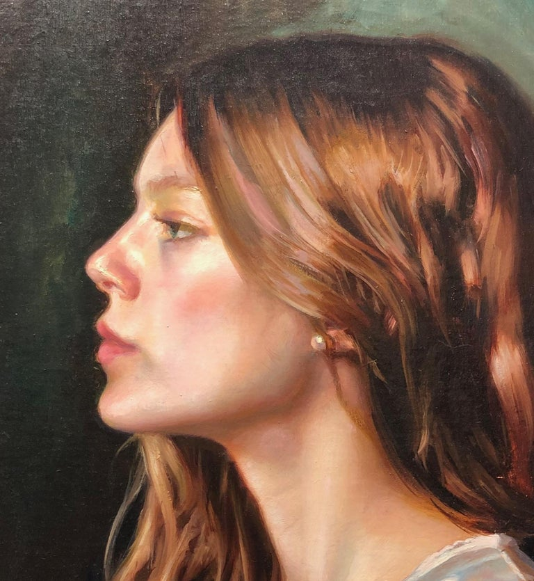 Untitled Portrait of a Female with Long Auburn Hair and a Silk Robe Oil on Panel - Contemporary Painting by Caleb O'Connor