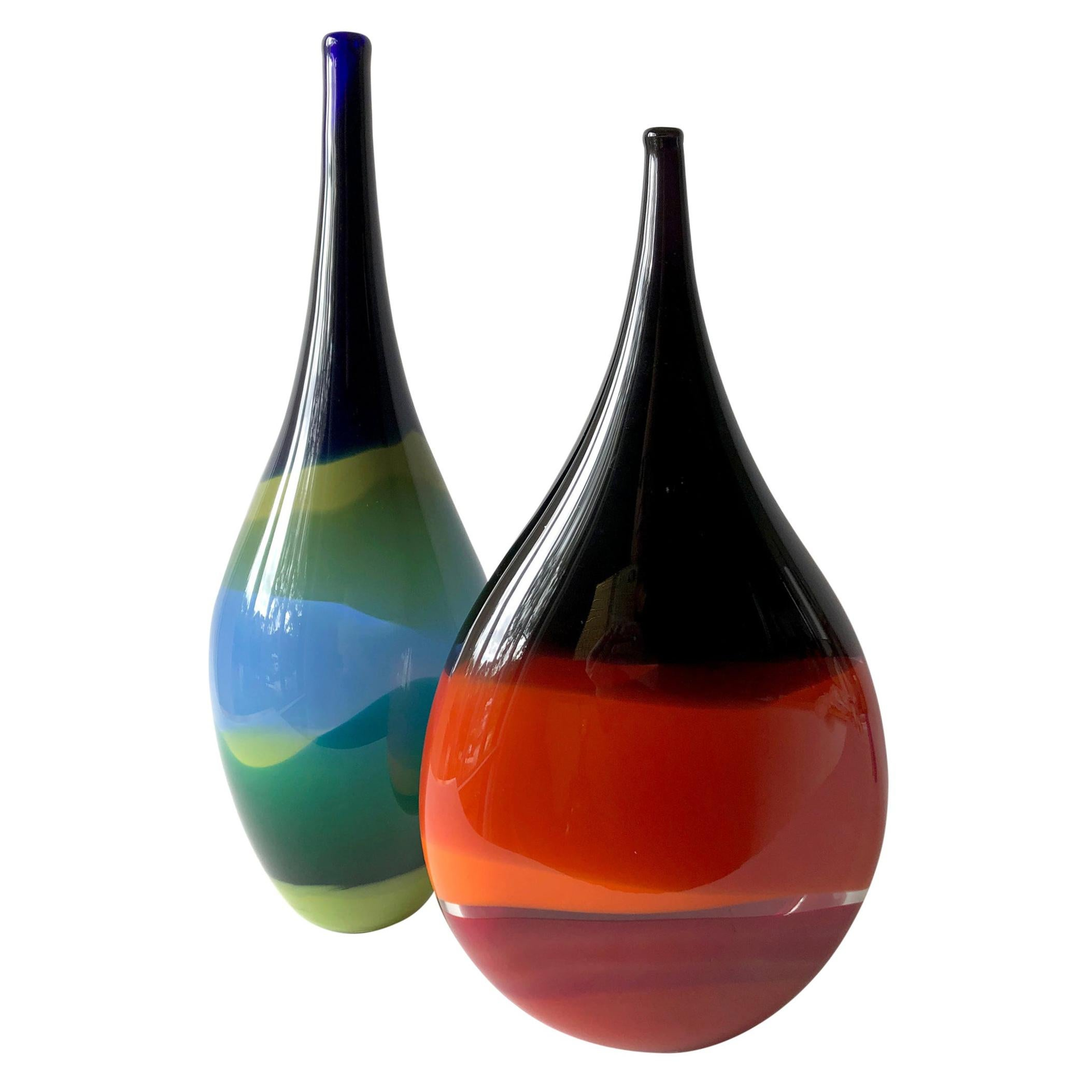 Caleb Siemon Pair of Hand Blown California Modern Glass Vases
