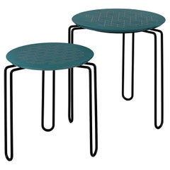 Caleido Set of 2 Green and Black Side Tables