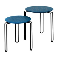 Caleido Set of Two Blue and Black Side Tables