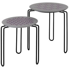 Caleido Set of Two Gray and Black Side Tables