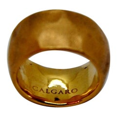 Calgaro 18 Karat Satined Rose Gold Ring with Martelé Texture