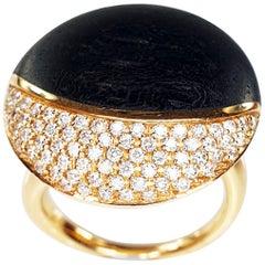 Calgaro Designer Ring in Rose Gold with Ebony Wood and Pavè of Diamonds