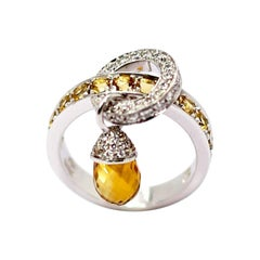 Calgaro 18k white Gold Ring with yellow Lemon Briolet Quartz Acorn