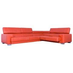 Calia Italia Leather Corner Sofa Orange Electric Function