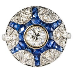 Art Deco Style Calibrated Sapphire Diamonds 18 Karat White Gold Ring
