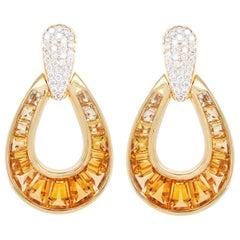 Calibre Cut Citrine Taper Baguette Diamond Dangle Drop 18 Karat Gold Earrings
