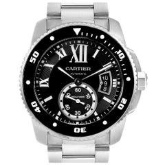 Calibre De Cartier Black Dial Automatic Steel Men's Watch W7100057
