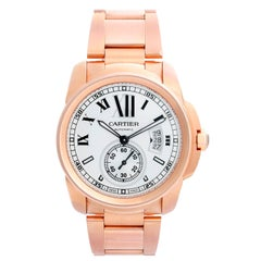 Calibre de Cartier Men's Large 18 Karat Rose Gold Watch W7100018