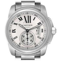 Calibre de Cartier Silver Dial Steel Automatic Men's Watch W7100015 Box Papers
