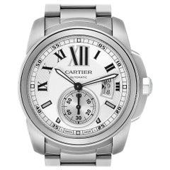 Calibre De Cartier Silver Dial Steel Automatic Men's Watch W7100015