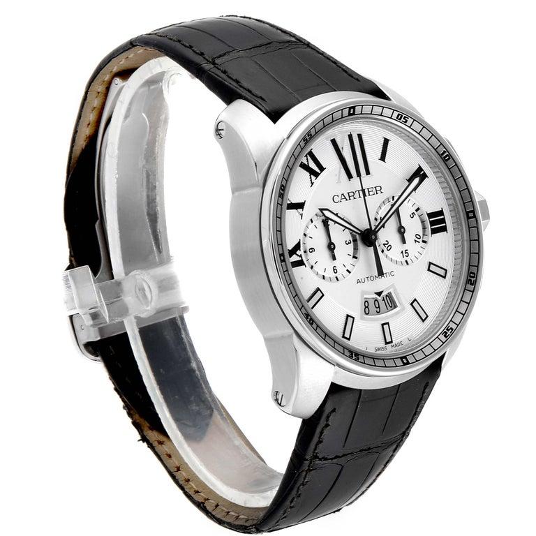 Calibre De Cartier Steel Chronograph Silver Dial Men's Watch W7100046 In Excellent Condition For Sale In Atlanta, GA