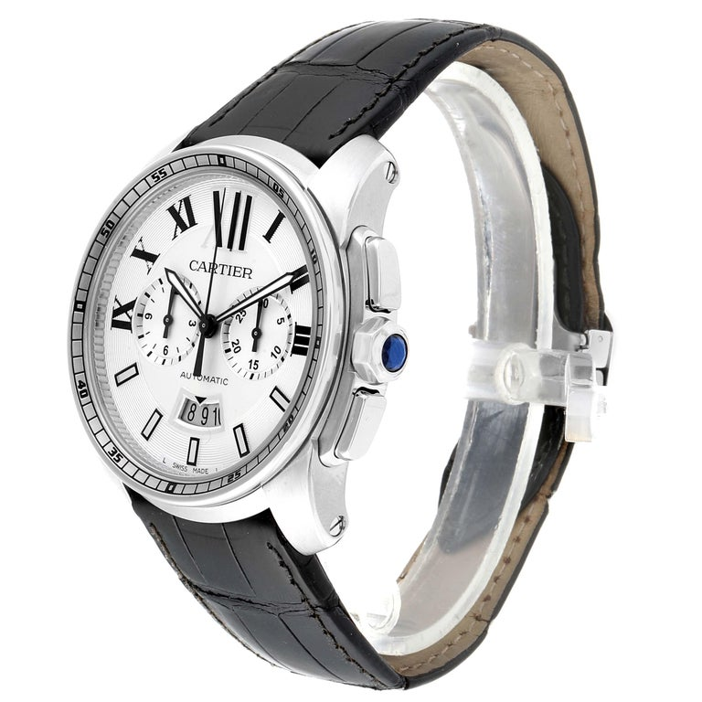 Calibre De Cartier Steel Chronograph Silver Dial Men's Watch W7100046 For Sale 1