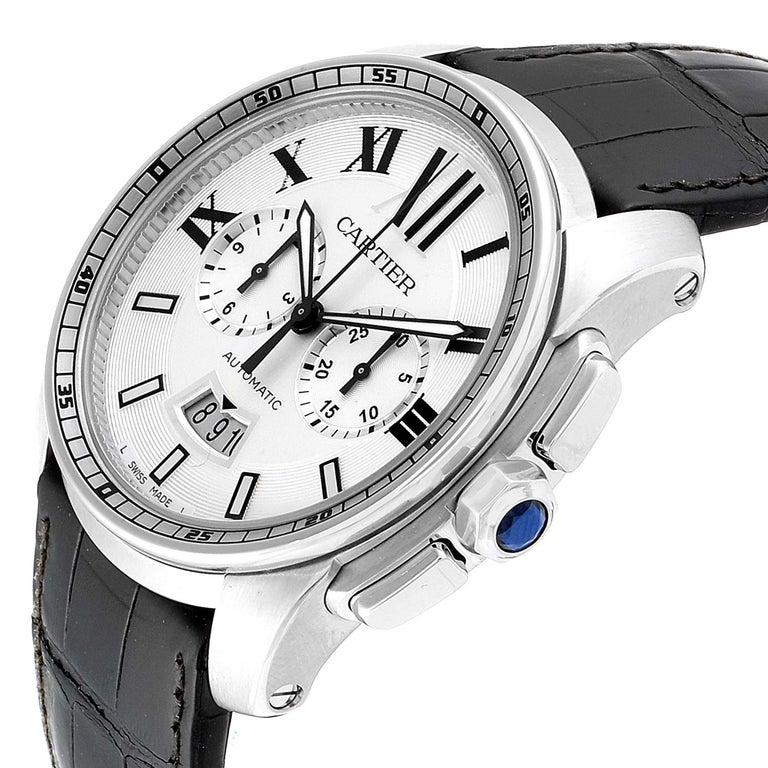 Calibre De Cartier Steel Chronograph Silver Dial Men's Watch W7100046 For Sale 2