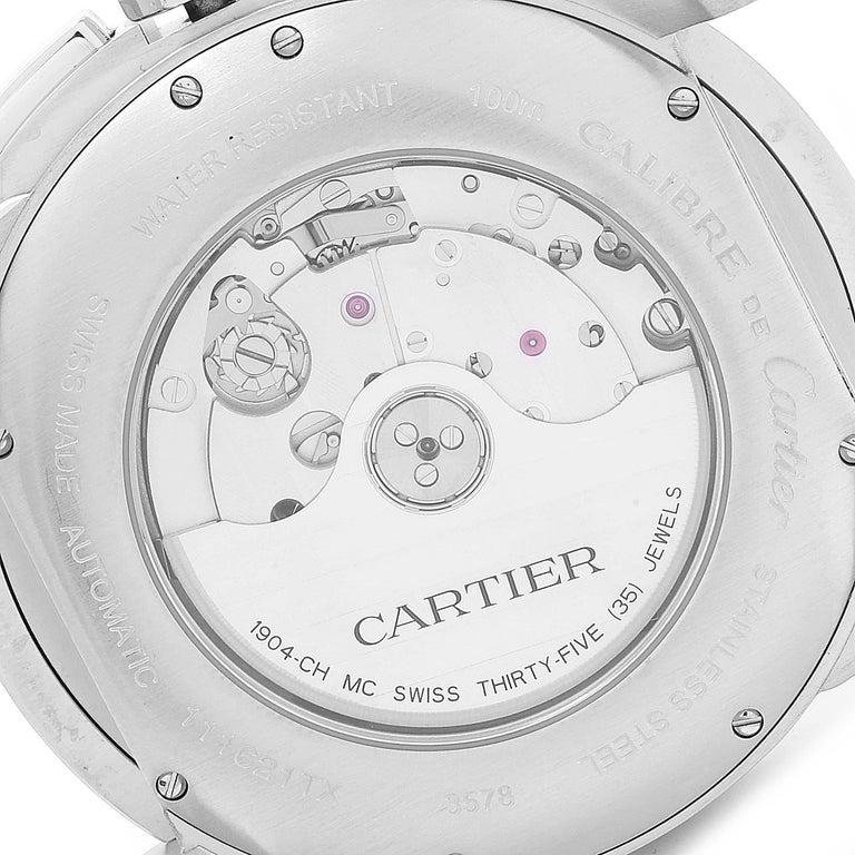 Calibre De Cartier Steel Chronograph Silver Dial Men's Watch W7100046 For Sale 3