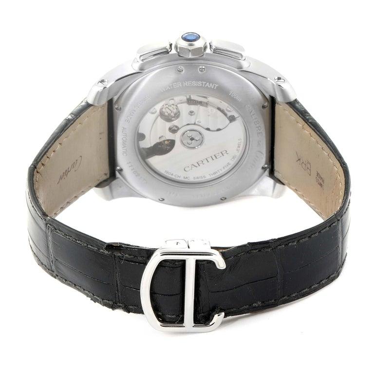Calibre De Cartier Steel Chronograph Silver Dial Men's Watch W7100046 For Sale 4