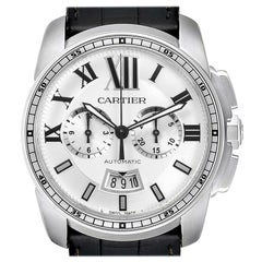 Calibre De Cartier Steel Chronograph Silver Dial Men's Watch W7100046
