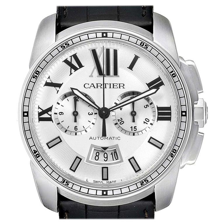 Calibre De Cartier Steel Chronograph Silver Dial Men's Watch W7100046 For Sale