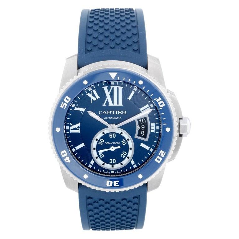 Calibre de Diver Cartier Men's Stainless Steel Watch WSCA0011 For Sale