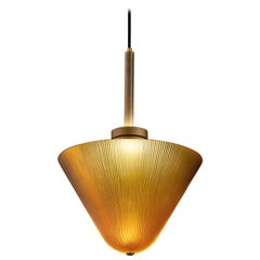 Calici Large Low Murano Glass Pendant in Amber Orizzonte by Salviati