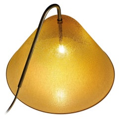Calici Large Low Murano Glass Table Lamp in Amber Pulegoso by Salviati