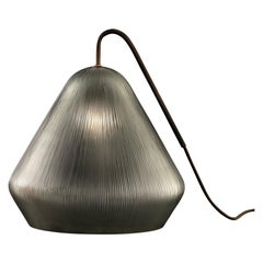 Calici Large Tall Murano Glass Table Lamp in Steel Gray Orizzonte by Salviati