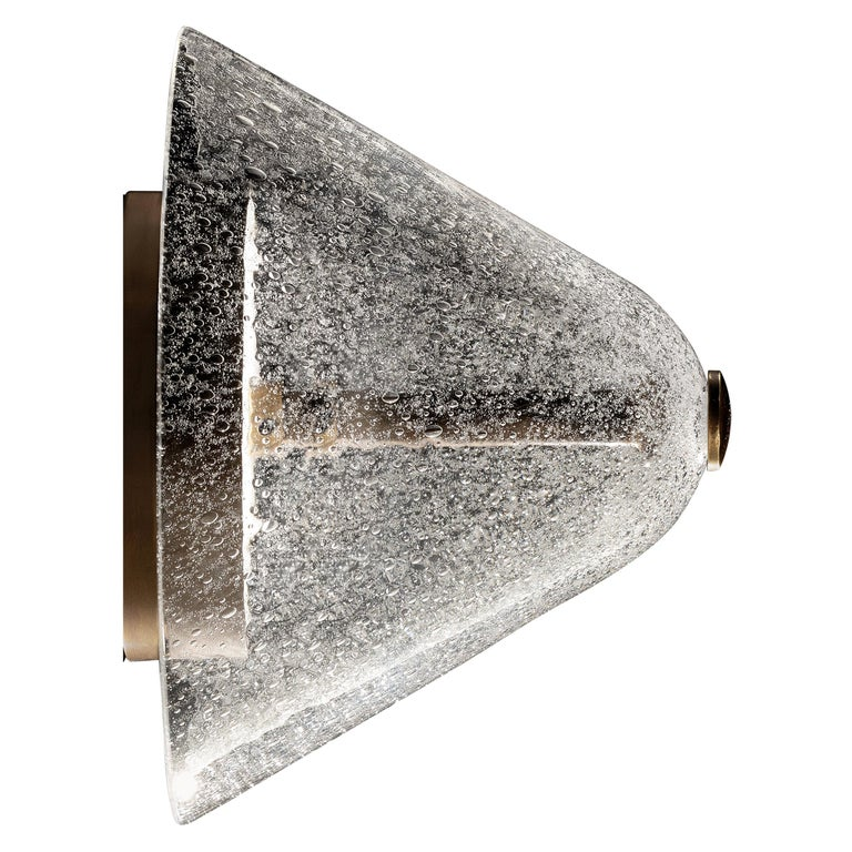 Calici Low Murano Glass Wall Lamp in Crystal Pulegoso by Salviati