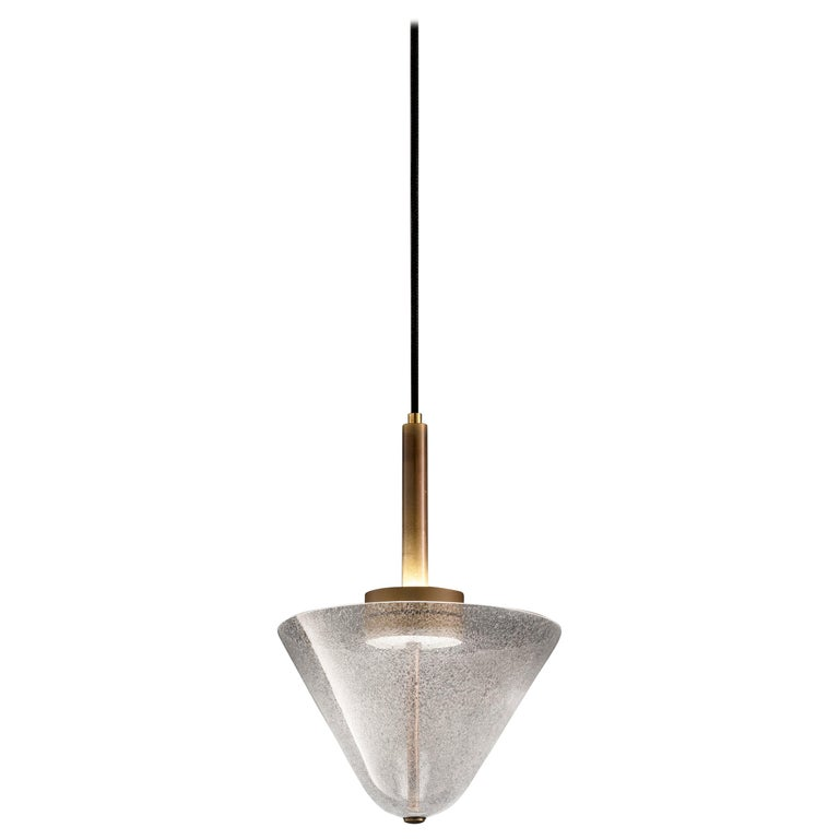 Calici Small Low Murano Glass Pendant in Crystal Pulegoso by Salviati For Sale