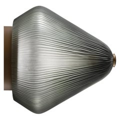 Calici Tall Murano Glass Wall Lamp in Steel Gray Orizzonte by Salviati