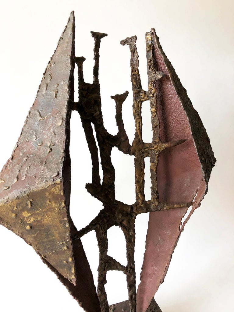Mid-Century Modern California Studio Abstract Brutalist Brass Sculpture For Sale