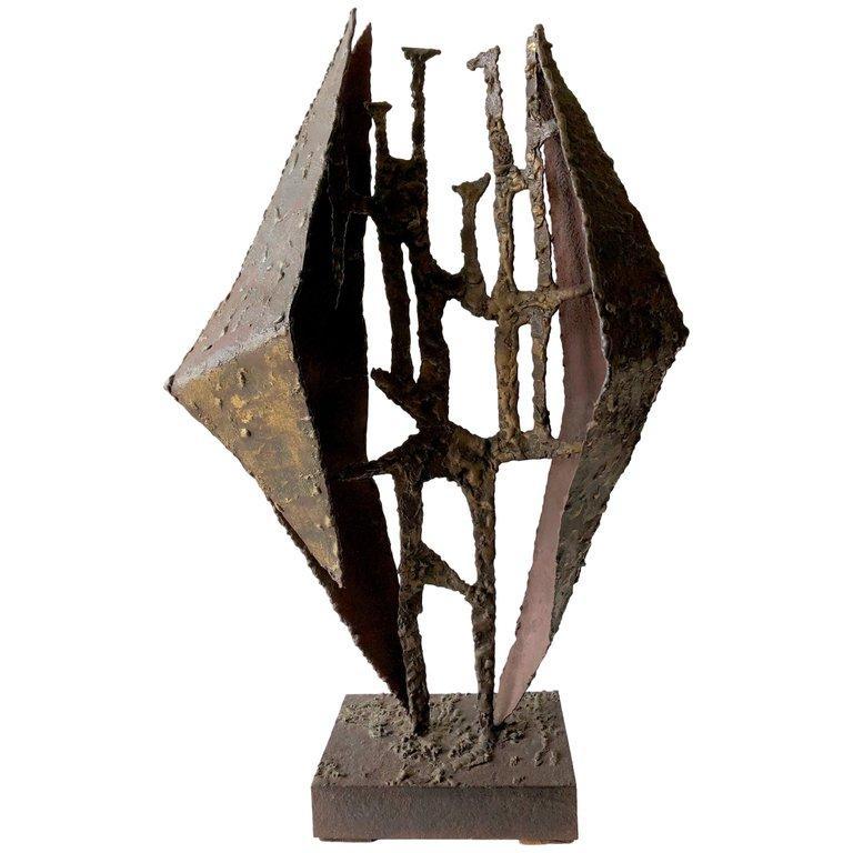 American California Studio Abstract Brutalist Brass Sculpture For Sale