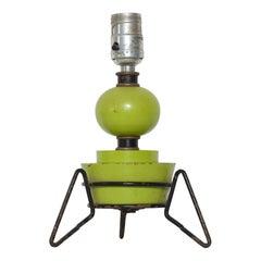 California Atomic Lime Green Geometric Wood Table Lamp on Iron Tripod Base 1960s