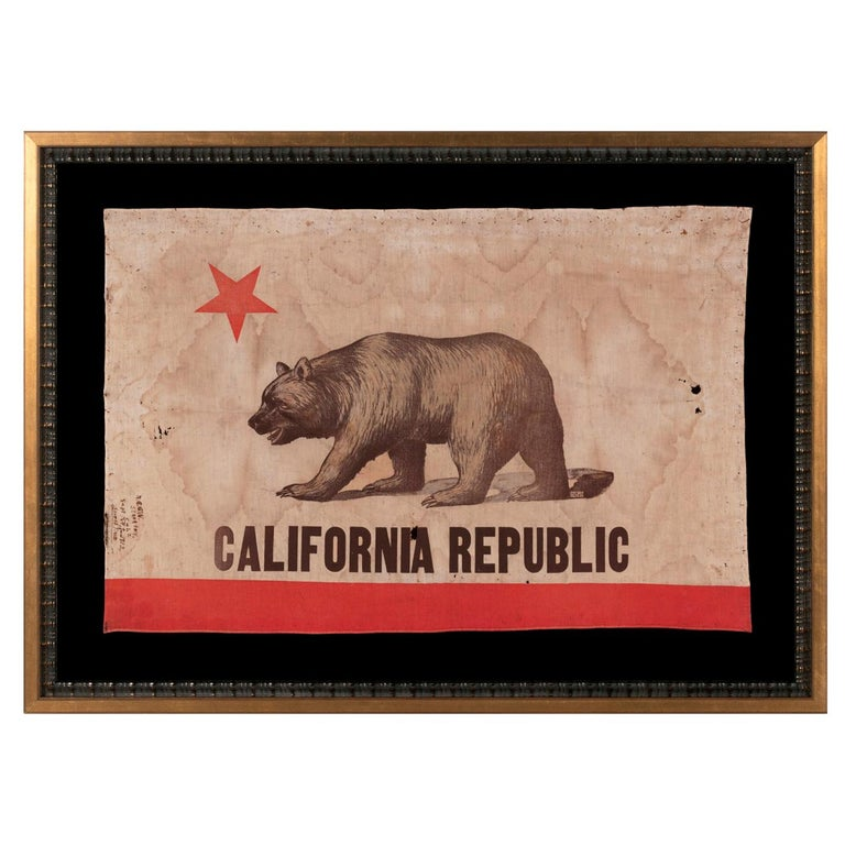 """California """"Bear"""" State Flag with 1912 Inscription Signed """"D & M Co"""""""