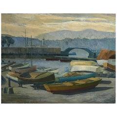 California Coastal Landscape Painting of Rowboats by James Welsh Elliott
