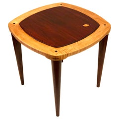 California Design Handcrafted Solid Maple and Mahogany Cocktail Table