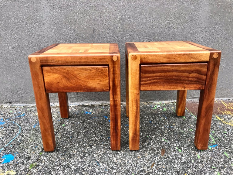 Mid-Century Modern Lou Hodges Rustic End Tables For Sale