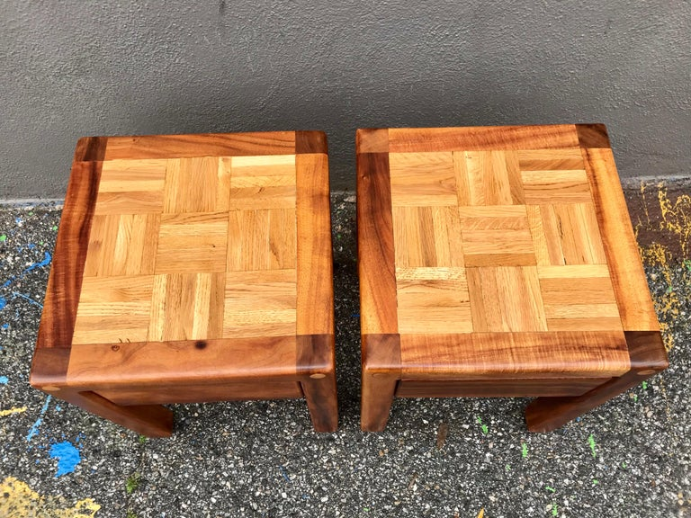 American Lou Hodges Rustic End Tables For Sale