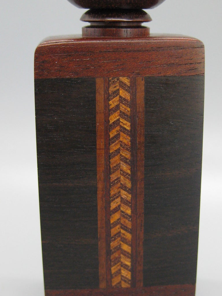 Hand-Crafted California Design Stephen Paulsen Cocobolo Rosewood Perfume Bottle Stash Box For Sale